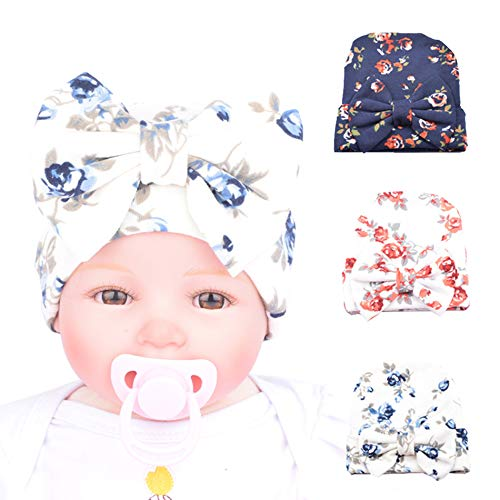 BQUBO Newborn Hospital Hat Infant Baby Hat Cap with Big Bow Soft Cute Knot Nursery Beanie -