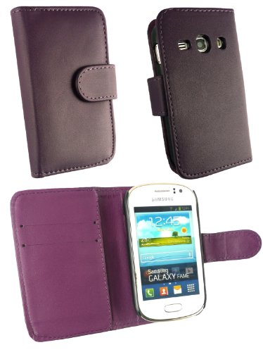 Emartbuy ® Stylus Pack Para Samsung Galaxy Fame S6810 Prima Púrpura + Mini Metallic Púrpura Stylus + Protector De Pantalla De Cuero De La Pu Caja De La Carpeta / Cubierta / Bolsa