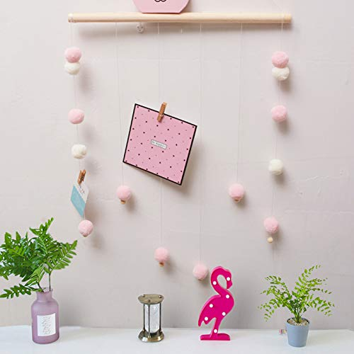 AceList Wood Wall Hanging Decor DIY Photo Picture Hanging Wire Twine Cords for Hanging Photos, Prints and Artwork - Pink
