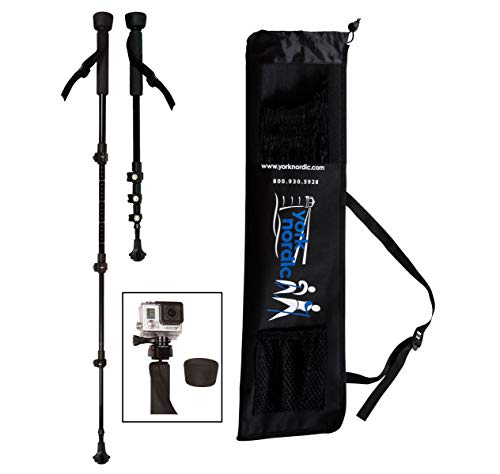 (York Nordic Collapsible Trekking & Hiking Poles with Digital Camera Mount, Flip Locks, and Rubber Feet,)
