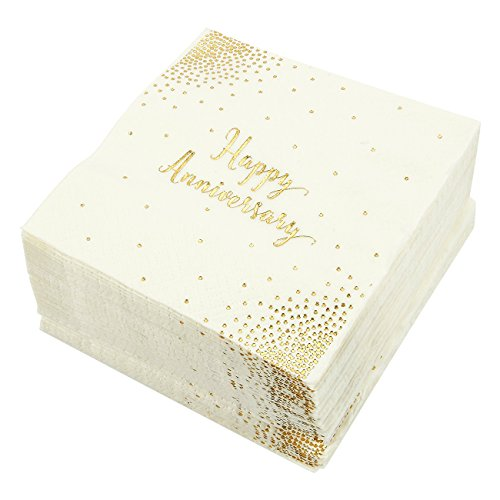Blue Panda 50-Pack Cocktail Napkins - Happy Anniversary Printed in Gold Foil Confetti - Disposable Paper Party Napkins - Perfect for Anniversary Celebrations - 5 x 5 inches Folded