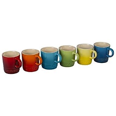 Le Creuset 6 Piece Colorful Stoneware 3.5 Ounce Petite Espresso Mug Set