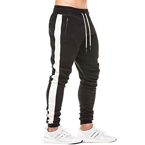 e945b8d020f MECH-ENG Men s Workout Joggers Stripe Gym Pants Slim Fit Sweatpants Zipper  Pockets