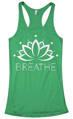 Top Green Shirt Tank Flower - Threadrock Women's Breathe Lotus Flower Racerback Tank Top L Kelly Green
