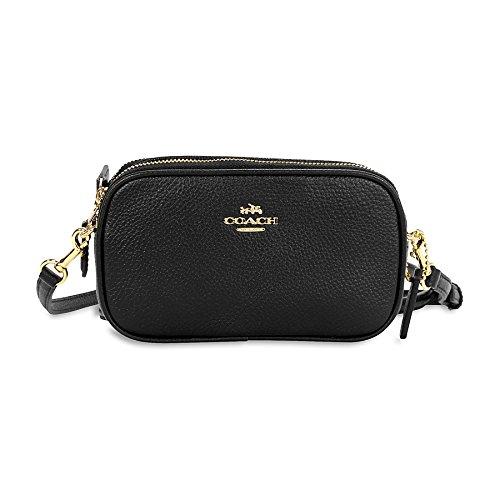 Coach Pebbled Leather Convertible Crossbody Pouch Clutch Purse Handbag ()