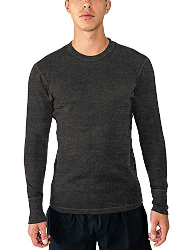 Woolx Men's Explorer Midweight Merino Wool Base Layer Crew Neck Top For Warmth, Charcoal Heather, Small