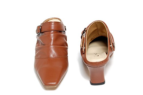 Ciesta Womens Strap gather Mules [169-167-m]{ Leather }[25-26 JP (7.5-8.5 US Women)] Beige bZjI0ipg