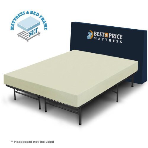 Best Price Mattress 6″ Comfort Memory Foam Mattress and Bed Frame Set, Full