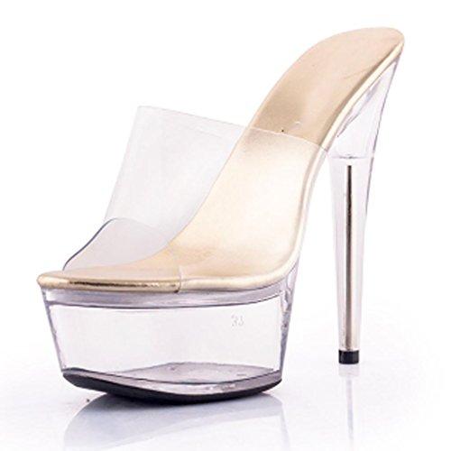 Femmes De Chaussures Pantoufles Bal En Travail Lieu Transparent Cristal Air Des Gold Épais forme Étanche Plein Porter Salle Hauts Sandales À Talons Plate xppAr