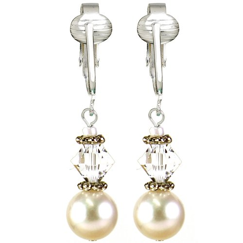 Romantic Authentic Swarovski Austrian Glass Crystals, Large Freshwater White Cultured Pearl Clip Earrings