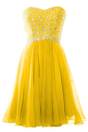 MACloth Women Strapless Crystals Chiffon Short Prom Dress Cocktail Formal Gown Amarillo