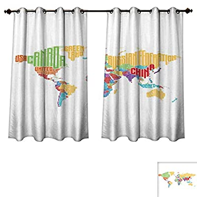 RuppertTextile World Map Blackout Thermal Backed Curtains for Living Room Colorful High School Classroom Map with Names of Countries Educational Print Customized Curtains Multicolor