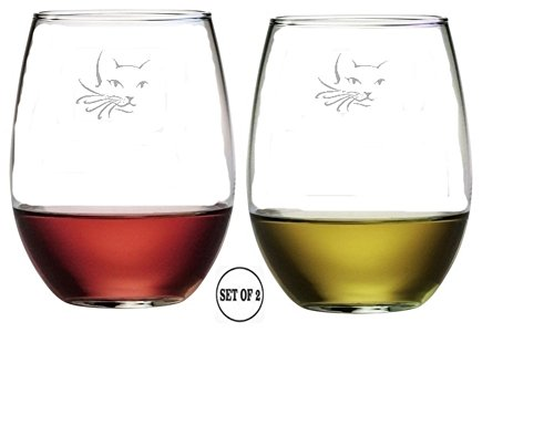 Cat Face Set of 2 Stemless Wine Glasses Etched Engraved Monogrammed Hand Made