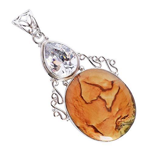(Ravishing Impressions Designer Natural Wild Horse Jasper Gemstone Pendant, Crystal, 925 Solid Sterling Silver Pendant, Handmade Gift FSJ-3347)