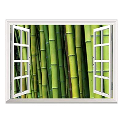 Grand Object of Art, White Window Looking Out Into a Bamboo Forest Wall Mural, Premium Creation