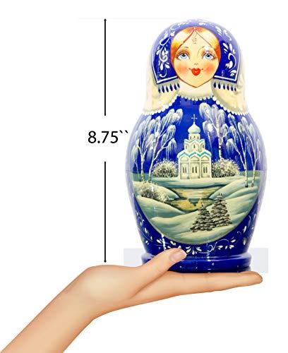 Russian Nesting Doll - Kirov - VJATKA - Hand Painted in Russia - Big Size - Wooden Decoration Gift Doll - Matryoshka Babushka (Style E, 8.25``(10 Dolls in 1)) by craftsfromrussia (Image #2)