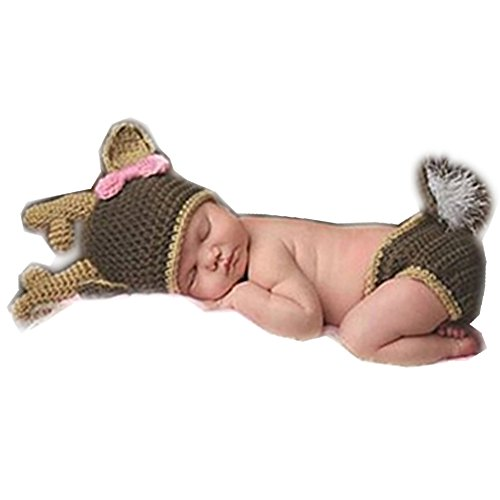 Coberllus Newborn Monthly Baby Photo Props Outfits Christmas Deer Hat Pants for Boy Girls Photography Shoot for $<!--$12.90-->