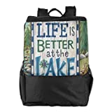 FVCXKM Personalized Unisex Outdoors Backpack,Travel/Camping/School-Life-is-Better-at-The-Lake Adjustable Hiking Travel Daypack for Women,Men
