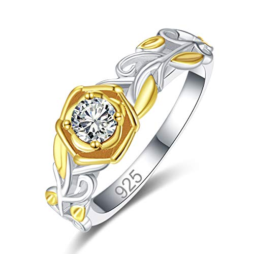 Veunora 925 Sterling Silver Plated Lab-Created White Topaz Yellow Gold Rose Promise Proposal Engagement Wedding Rings for Women Girl Size - Gold White Ring Brilliants
