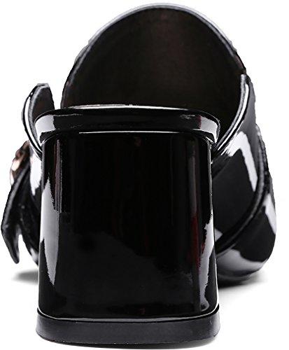 Toe Suljetun muulit Musta Camaybe Lohkon Slip Calaier Kengät Kantapää 6cm Naiset wqFECt