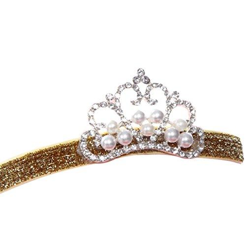 Trenton Newborn Baby Noble Crystal Crown Kids Girl Cute Hair Band Princess Headwear - A