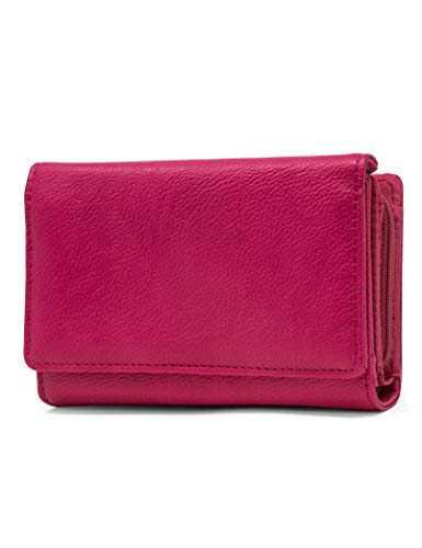 Mundi Small Womens RFID Blocking Wallet Compact Trifold Safe Protection Clutch With Change Purse ((Pink))