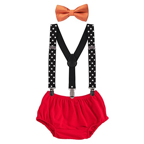 Baby Boys First Birthday Adjustable Y Back Elastic Clip Suspenders Cake Smash Outfit Tuxedo Pre-tied Bloomers Bowtie set]()