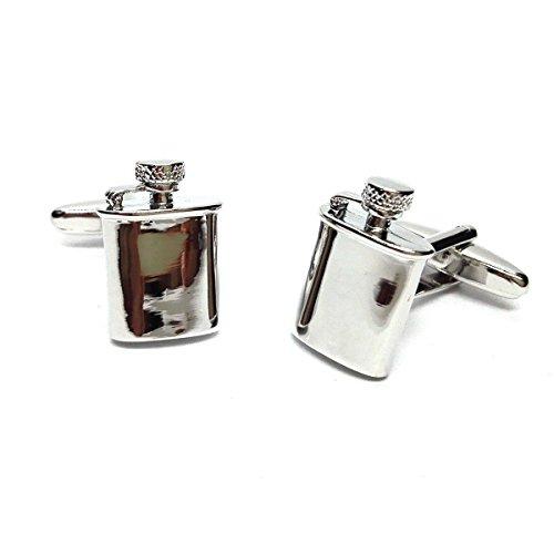 Gtr Men's Cufflinks X2AJ673 Cool Hip Flasks Design Rhodium Plated Cufflinks (Design Flask Hip)