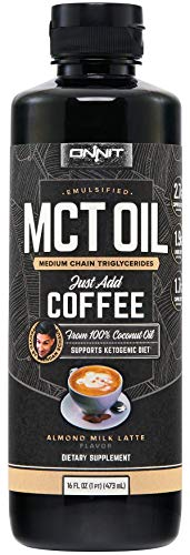 Onnit Emulsified MCT Oil for Keto Coffee | Perfect Keto Creamer - Mixes Easily in Keto Shakes and Foods | Almond Milk Latte Flavor (16oz)