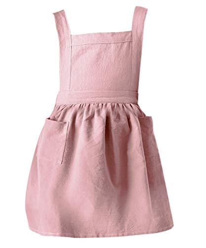 Jevopan Children Bib Apron Kids Apron with Extra Waist Frilly Design for Child with 2 Pockets, for Craft Kitchen Housework Gardening Cooking Baking Arts and Crafs Painting, Age 4-10 (Pink, Kids M)