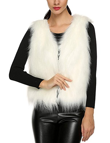 Tanming Women's Fashion Autumn and Winter Warm Short Faux Fur Vests (X-Small, White) -