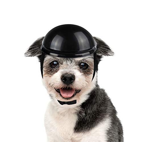 LESYPET Dog Helmet -Paded Pet Motorcycle Helmet Safety Cap for Small Cats Dogs' Biking Cycling, Black (Dark Dog Helmet)