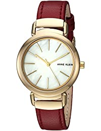 Women's AK/2752MPBY Gold-Tone and Burgundy Leather Strap Watch