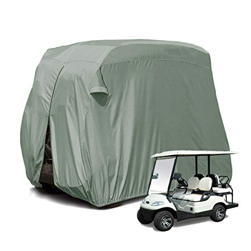 Ez Go Golf Cart Enclosures - 【2019 Upgraded】 Outdoor Golf Cart Cover for EZ GO,Club Car, Yamaha, Movaland Custom Cart Cover with 300D Material + Extra PVC Coating Waterproof Dust Prevention (Grey)