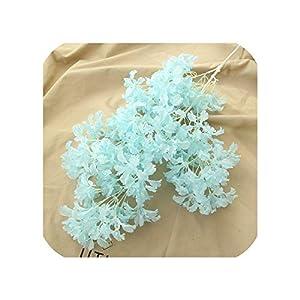 2Pc Artificial Cherry Blossom Branch Flower Wall Hanging Sakura 100Cm for Wedding Centerpieces Garden Decorative Flowers String,Light Blue 50