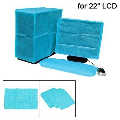 """Kobwa(TM) 22"""" Computer/PC Monitor Screen Keyboard Nonwoven Fabric Dust Cover/Cap -Light Blue With Keyring"""
