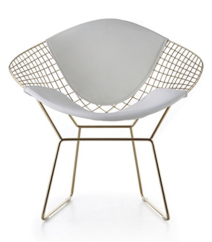 Wire Mesh Bertoia Style Diamond Chair In Gold Finish – White Pads