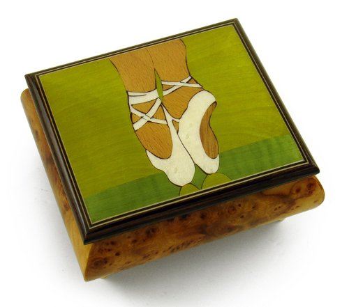 Graceful Ballerina's Pointe Shoes Wood Inlay Music Jewelry Box - Over 400 Song Choices - Reich Mir Die Hand Mein Laben SWISS (Wood Mira Box)