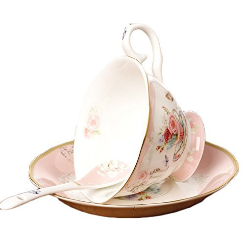 ufengke European Fashion Bone China Coffee Cup With Saucer And Spoon, Hand-Painted Flowers And Butterfly, 200ml, Pink -