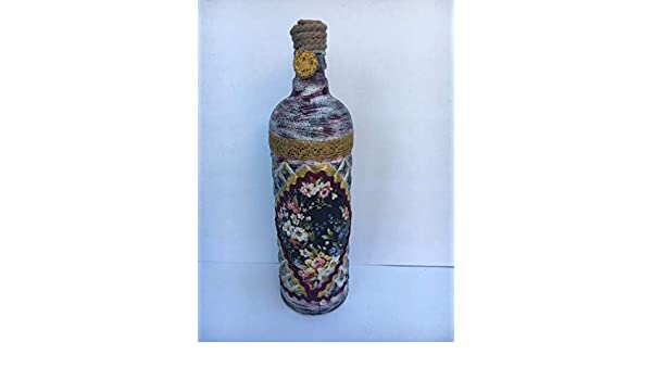 Botella decorativa con adorno de flores: Amazon.es: Handmade