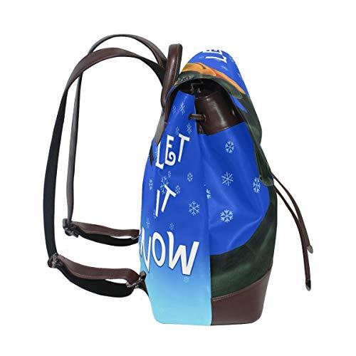 Let It Snow tax ryggsäck handväska mode PU-läder ryggsäck ledig ryggsäck för kvinnor