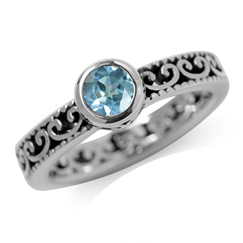 Filigree Ring Setting - Genuine Blue Topaz 925 Sterling Silver Stack/Stackable Filigree Ring Size 7
