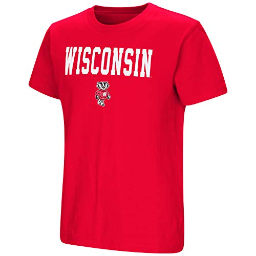 (Colosseum NCAA Youth Boys-Talk The Talk-Cotton T-Shirt-Wisconsin Badgers-Cardinal-Youth XL)