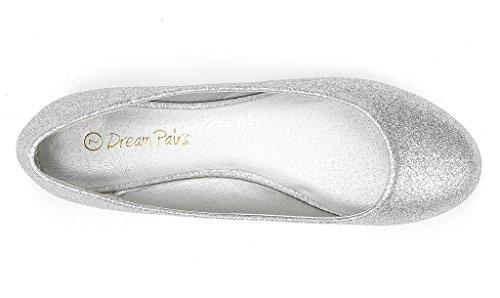 DREAM PAIRS Damen Sole Einfache Ballerina Walking Wohnungen Schuhe Silberner Glitter