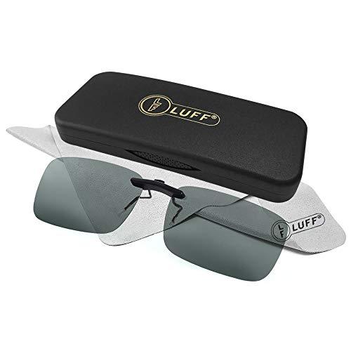 LUFF Polarized Unisex Clip on Sunglasses for Prescription Eyeglasses-Good Clip Style Sunglasses for Myopia Glasses Outdoor/Driving/Fishing (Green) ()