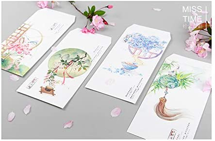 FANGDAHAI BriefpapierSupplies 9Pcs/Set 3 Envelopes & 6 Sheets Letter Paper Chinese classical style Flower series Envelope For Gift Stationery