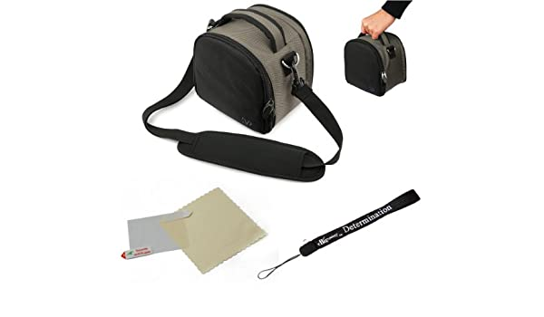 eBigValue Grey Slim Holster Camera Bag Carrying Case for Olympus E 5 SP 600UZ SP 610UZ SP 800UZ SP 810UZ SZ 30MR XZ 1 Pen E P2 Pen E P3 Pen Digital Camera and Hand Strap and Screen Protector