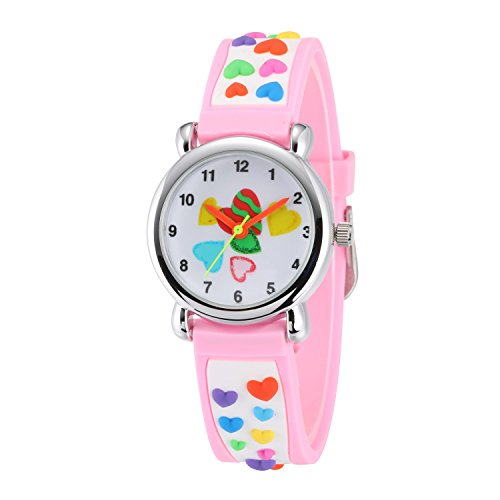 Children Kids Toddler Watches Time Teacher Watches, Cartoon Character 3D Silicone Band Watches (Heart-shaped Pink Steel Shell)