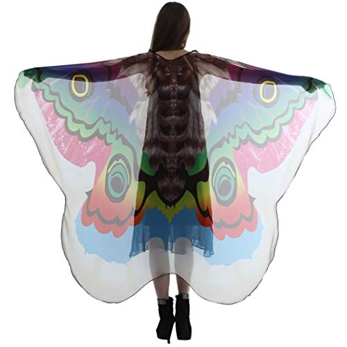 FEITONG Halloween Party Women Long Butterfly Wings Shawl Scarves Ladies Nymph Costume Accessory, 185x145cm(185x145cm,Green)