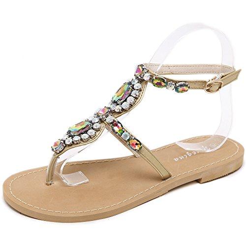 Mujeres Correa Toe Peep Brown Zapatos Rhinestone Bohemia Chanclas En T Beach Sandalias Tangas Summer De De Planos Sandalias Las Romanas Slingback IIdXwr